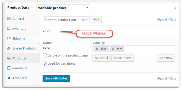 Attribute Variable Product