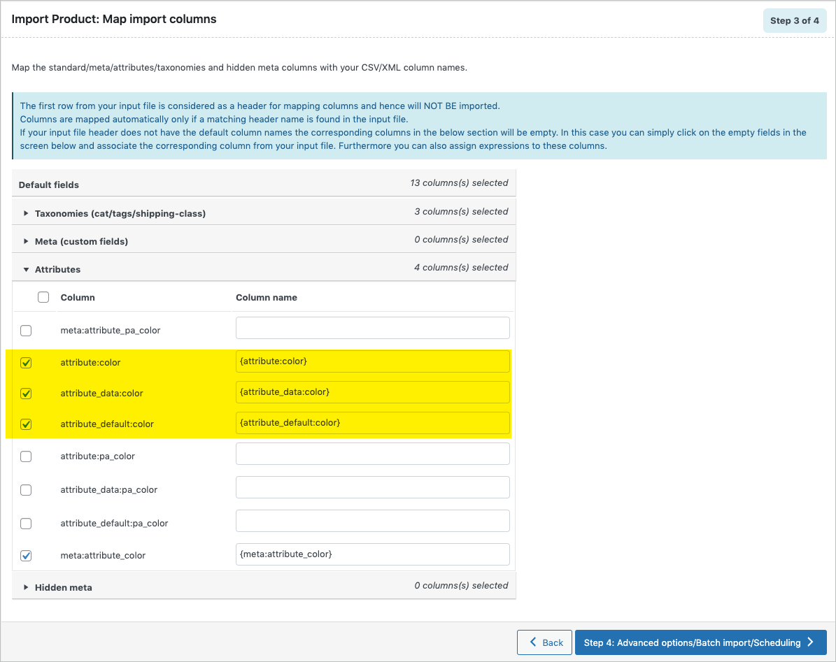 Mapping Product Attributes During Import