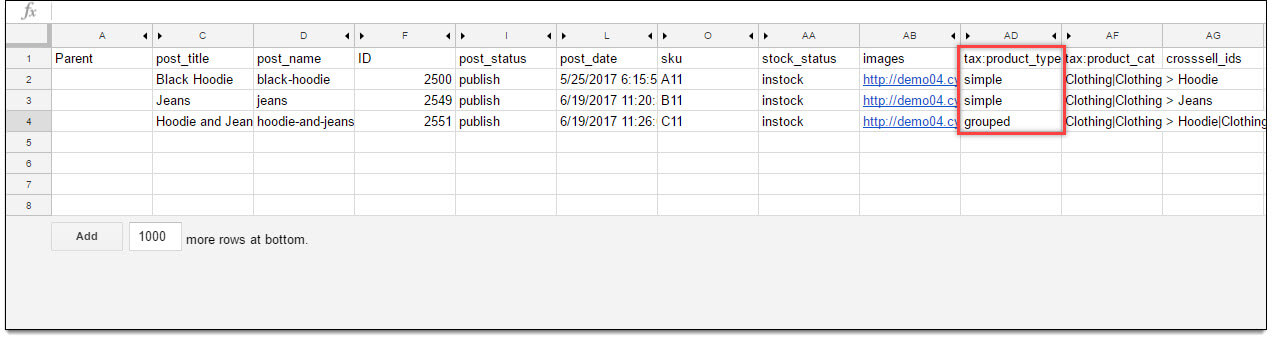 Prod ImEx Sample CSV