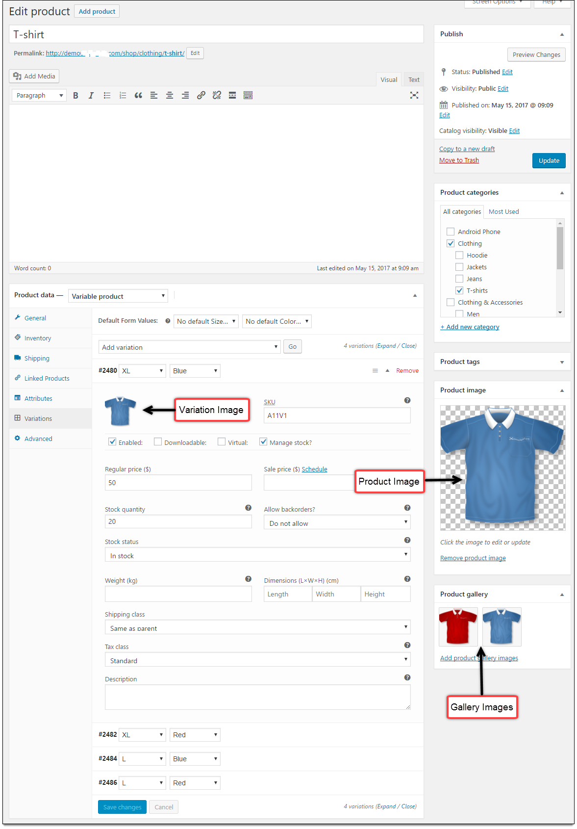Image added on the Edit Product page