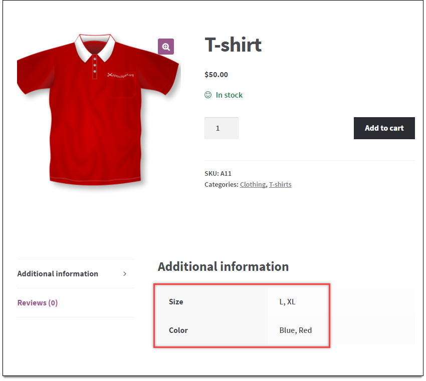 View of attributes in product page.