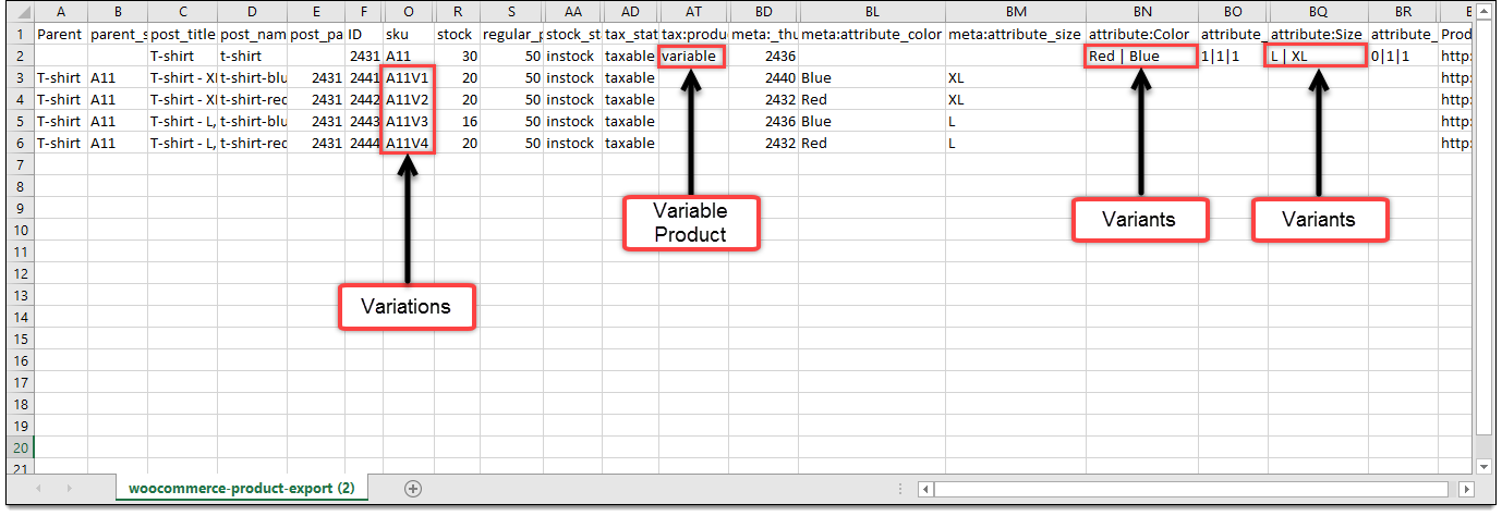 Variable product import CSV
