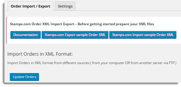 Order import window