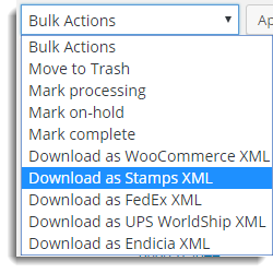 Bulk Action drop-down list