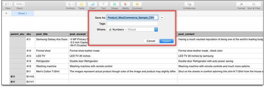 Export option in Apple Numbers