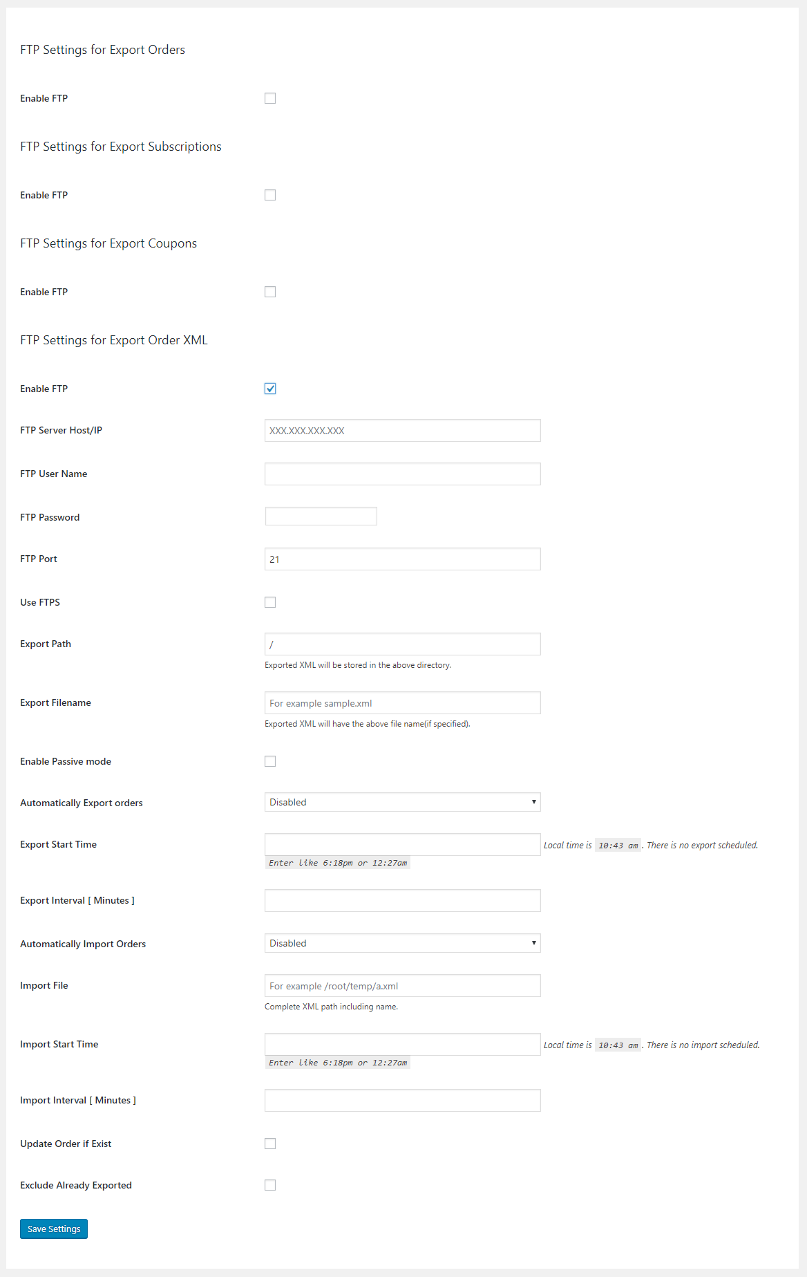 Order XML settings tab
