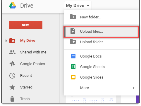 File upload option in Google Drive