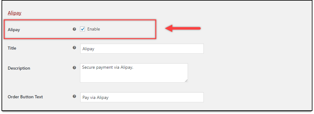 Stripe WooCommerce Alipay Setting