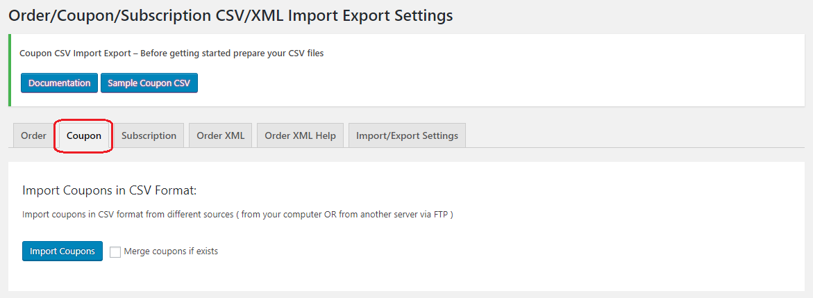 Coupons import tab