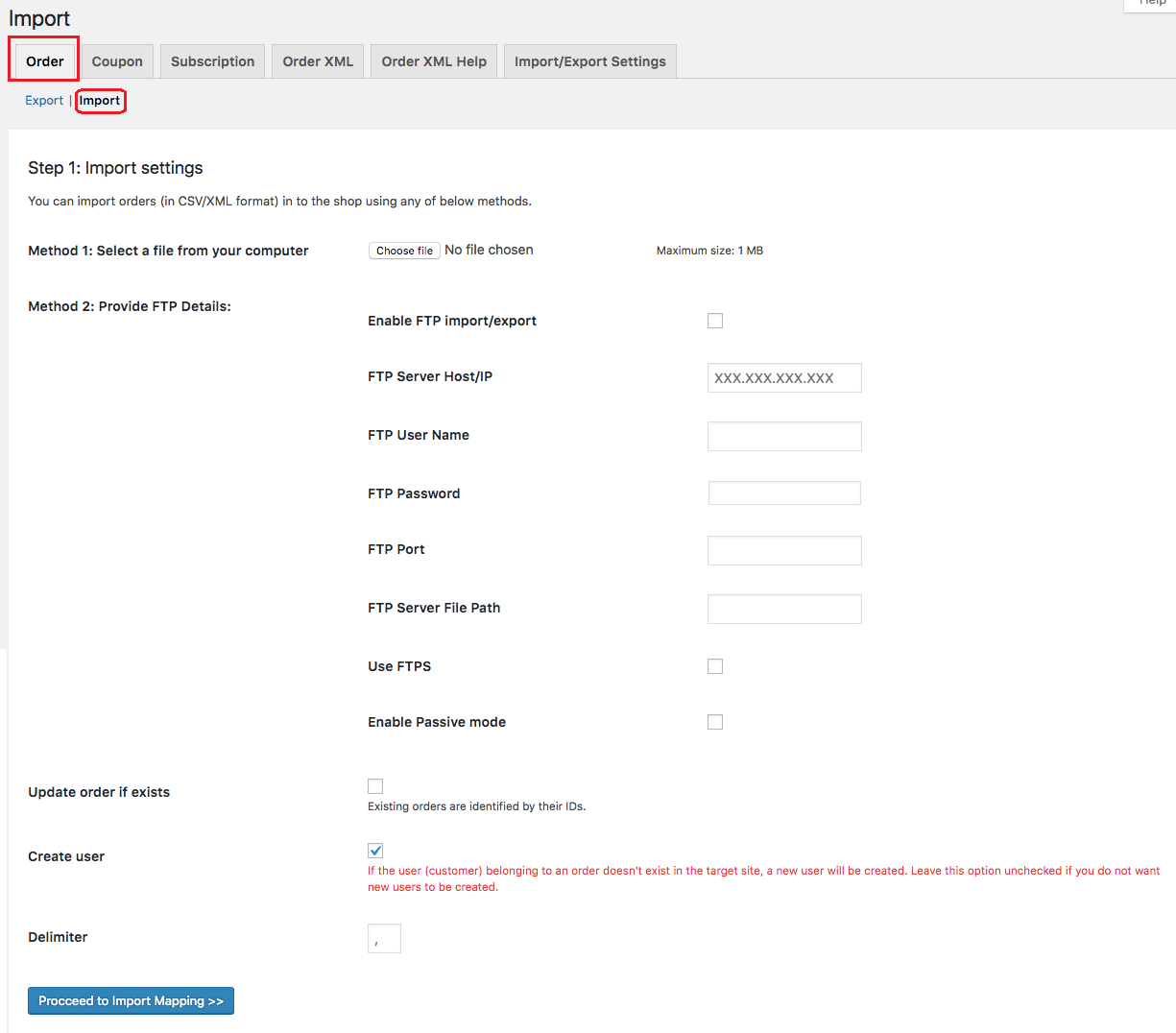 Order import settings