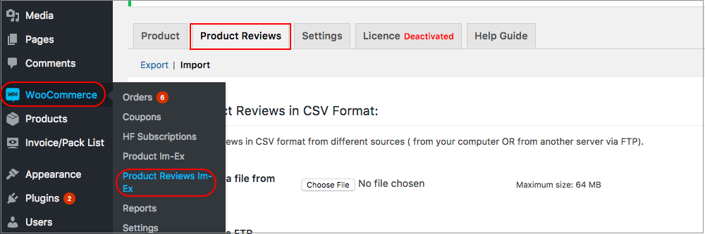 Product reviews import export tab