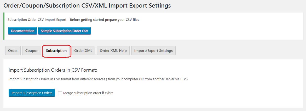 Subscription import window