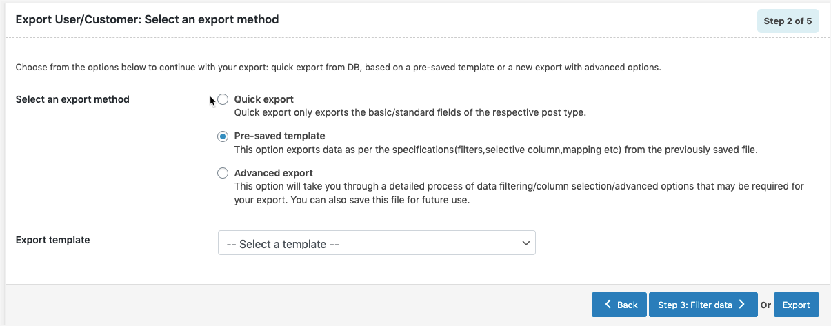 WooCommerce Users Export-pre-saved