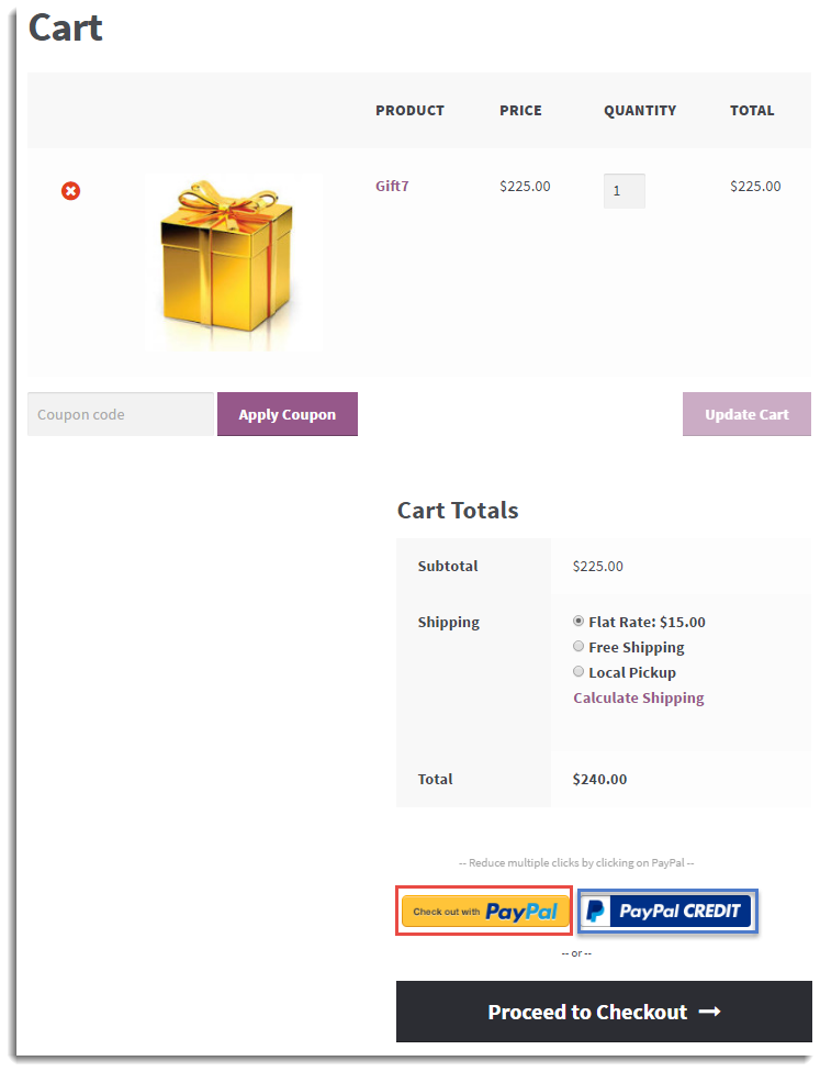 cart page checkout