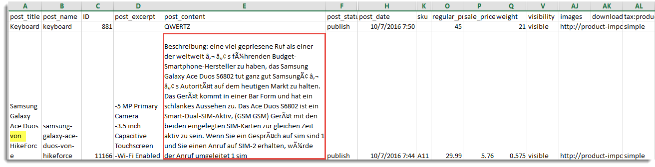Exported CSV in German