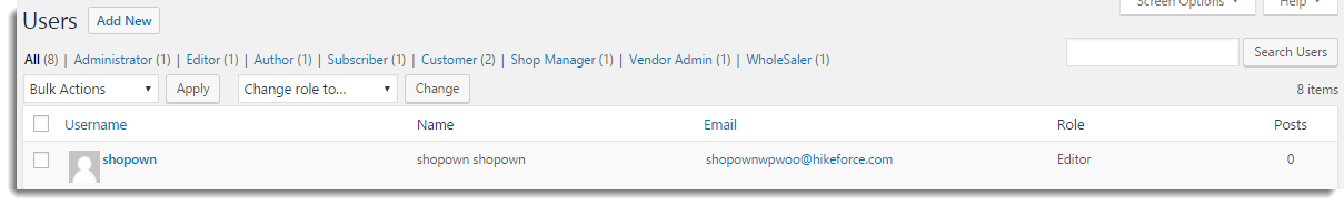 Imported user on WordPress Users page