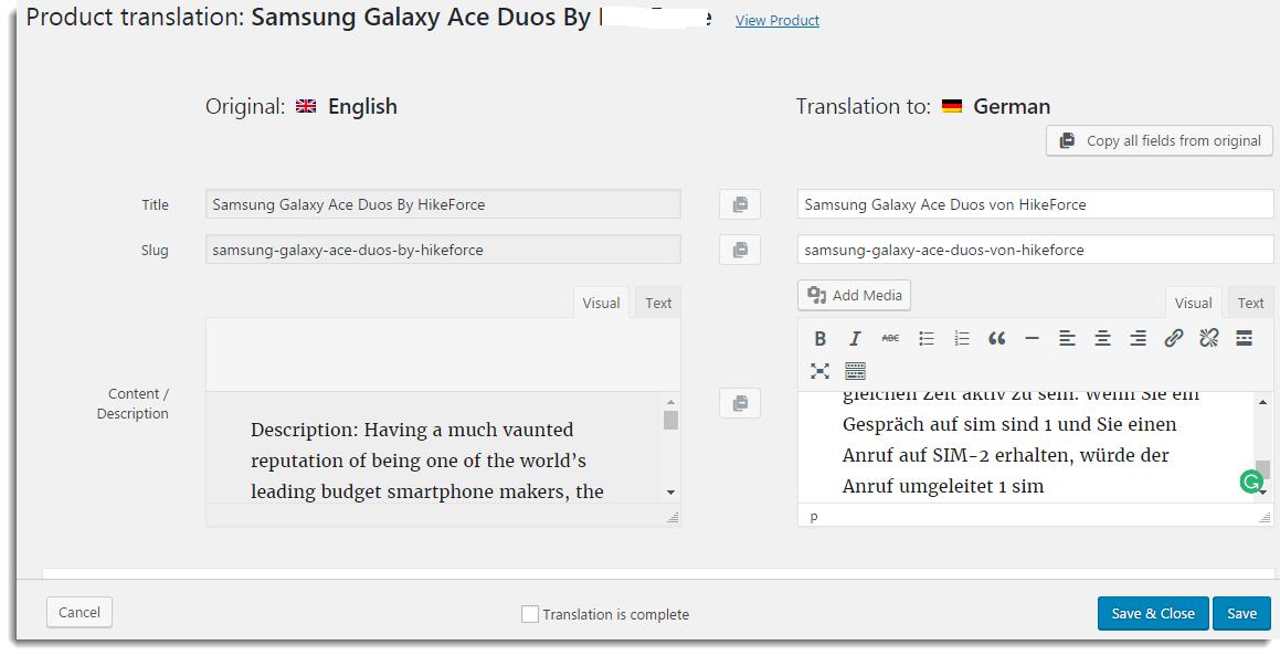 Translation details