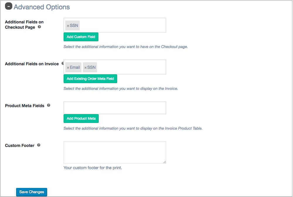 Invoice Advanced options