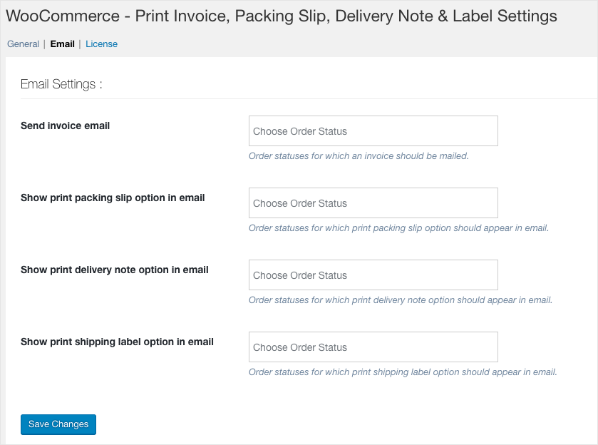 Invoice:List-General Settings-Email Settings
