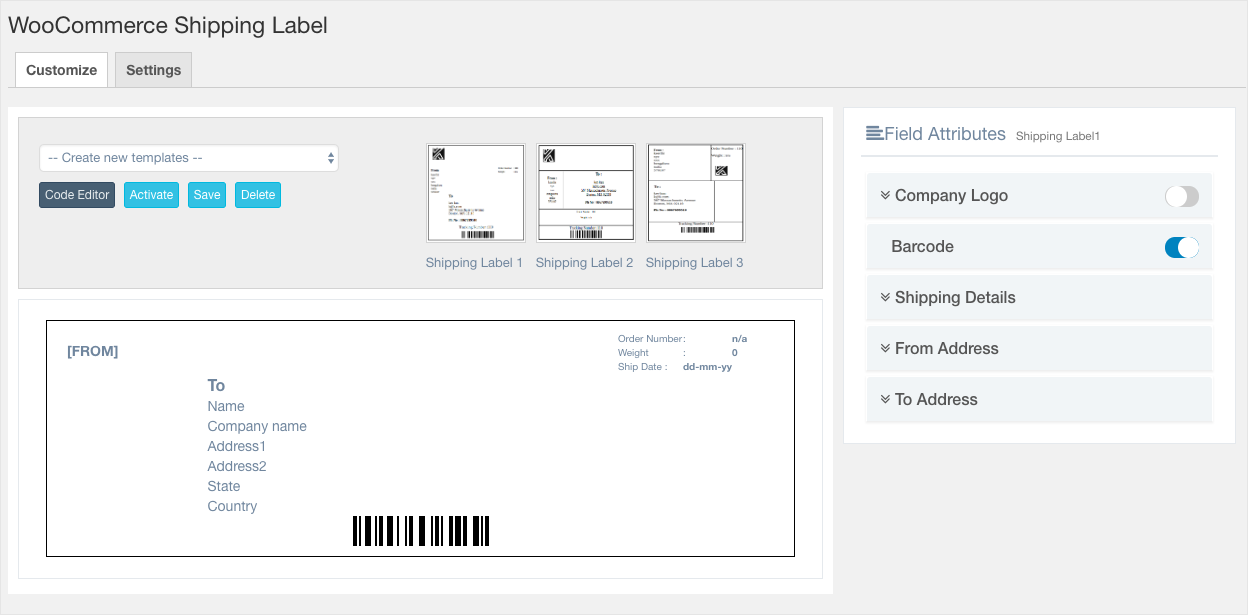 Invoice:List-WooCommerce Shipping Label