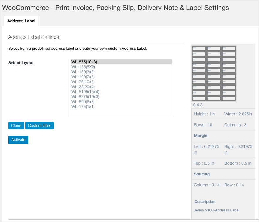 WooCommerce PDF Invoices, Packing Slips, Delivery Notes & Shipping Label-Address Label