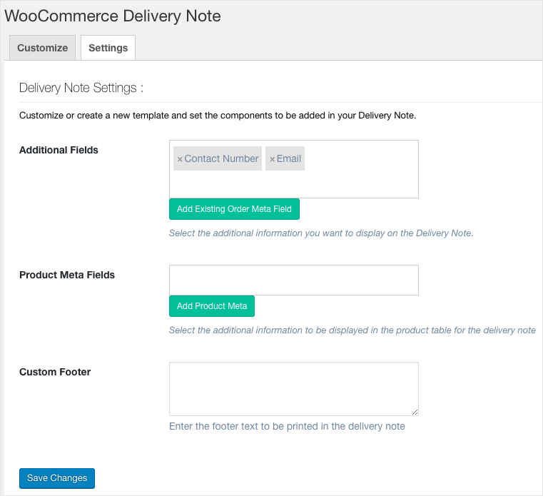 WooCommerce PDF Invoices, Packing Slips, Delivery Notes & Shipping Label-Delivery Note Settings