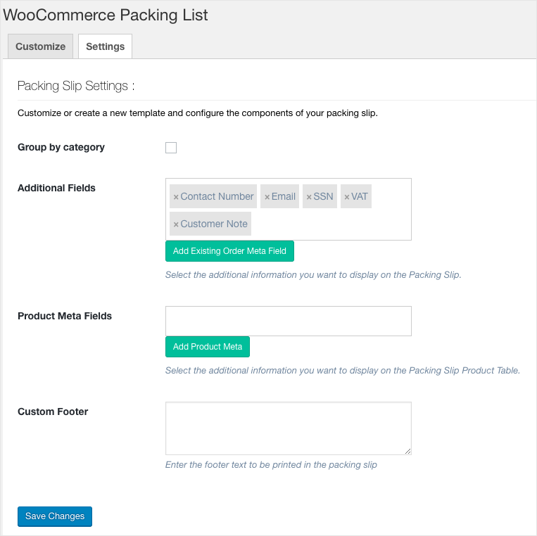 WooCommerce PDF Invoices, Packing Slips, Delivery Notes & Shipping Label-Packing List Settings