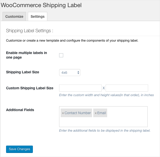 WooCommerce PDF Invoices, Packing Slips, Delivery Notes & Shipping Label-Shipping Label Settings