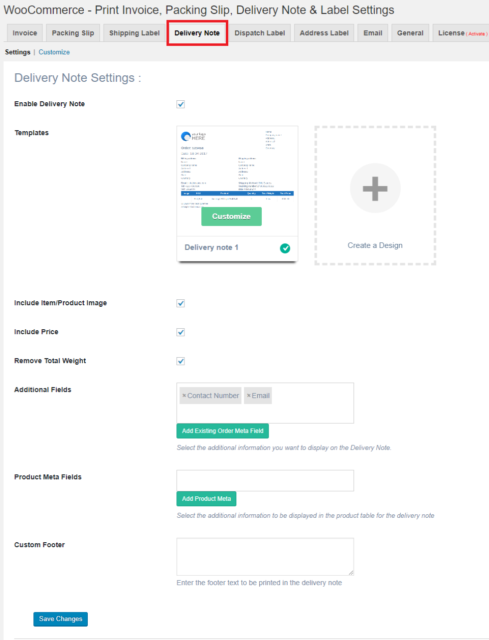 delivery note settings