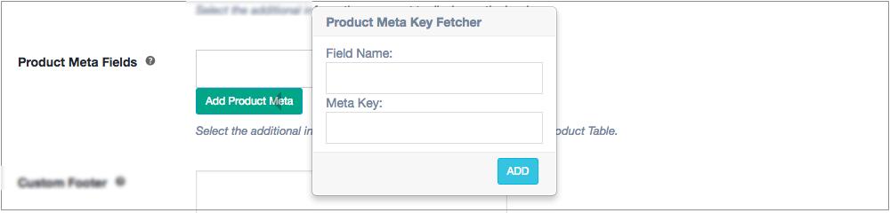 invoice product meta fields