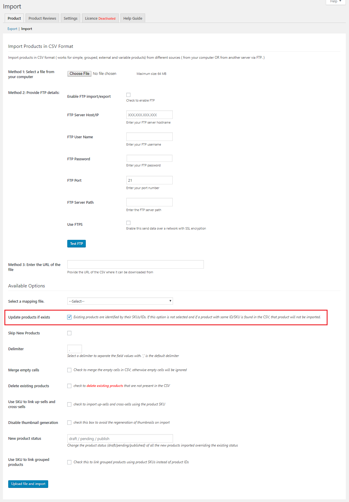 Product import with update existing products field checked