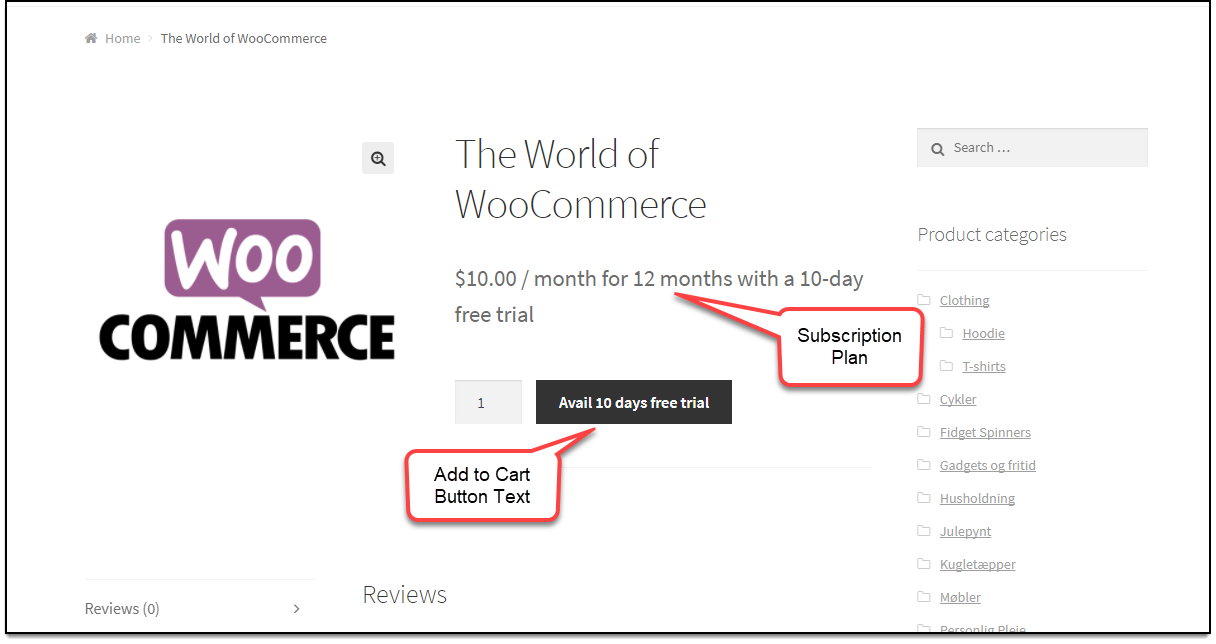 Stripe WooCommerce Subscription Product Page