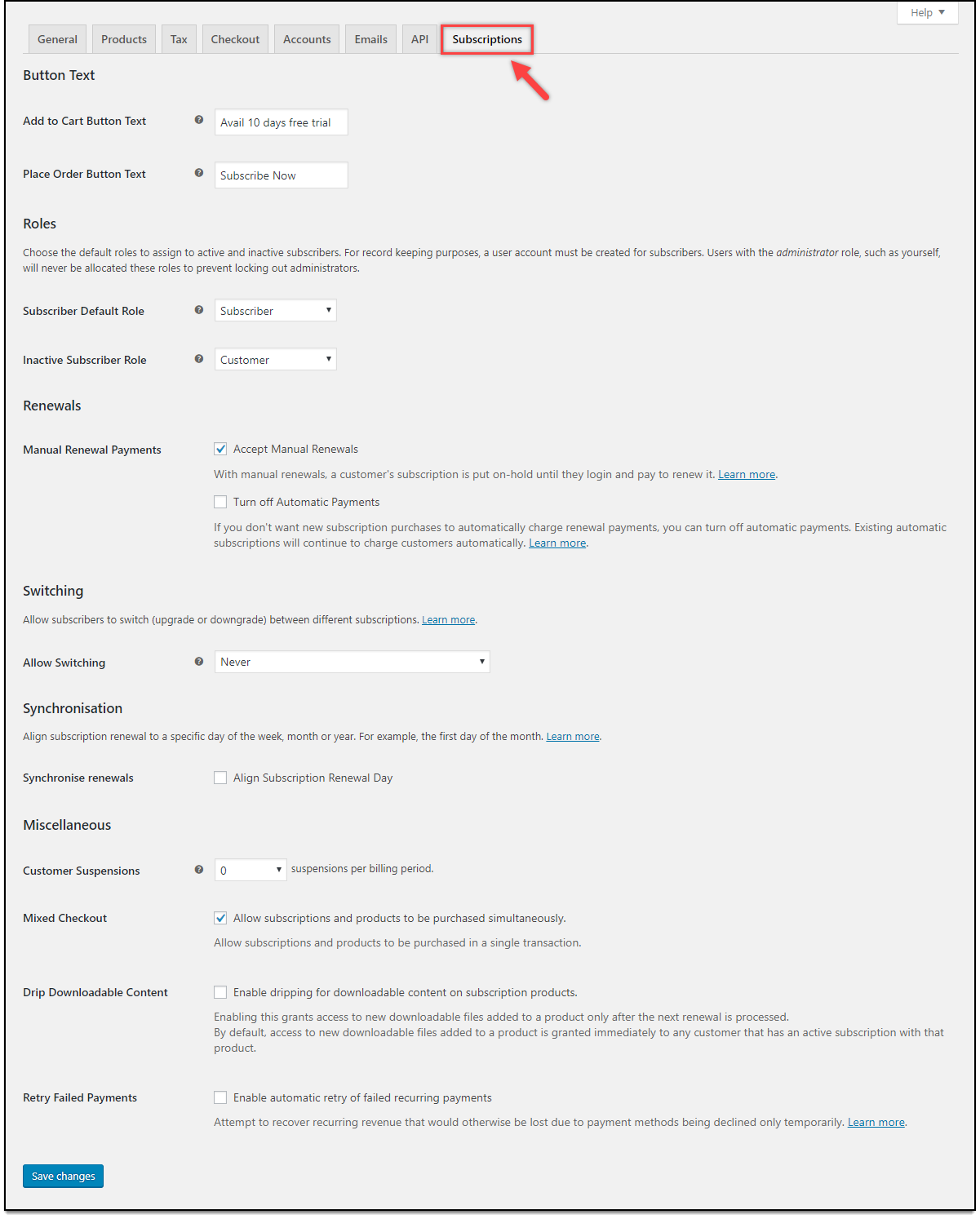 Stripe WooCommerce Subscription Settings