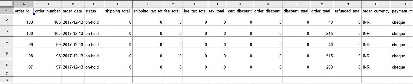 csv excluding already exported order