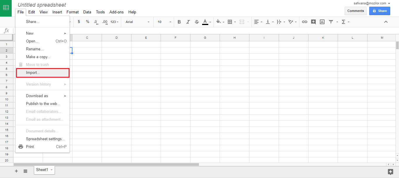 Import CSV file to Google Spreadsheets