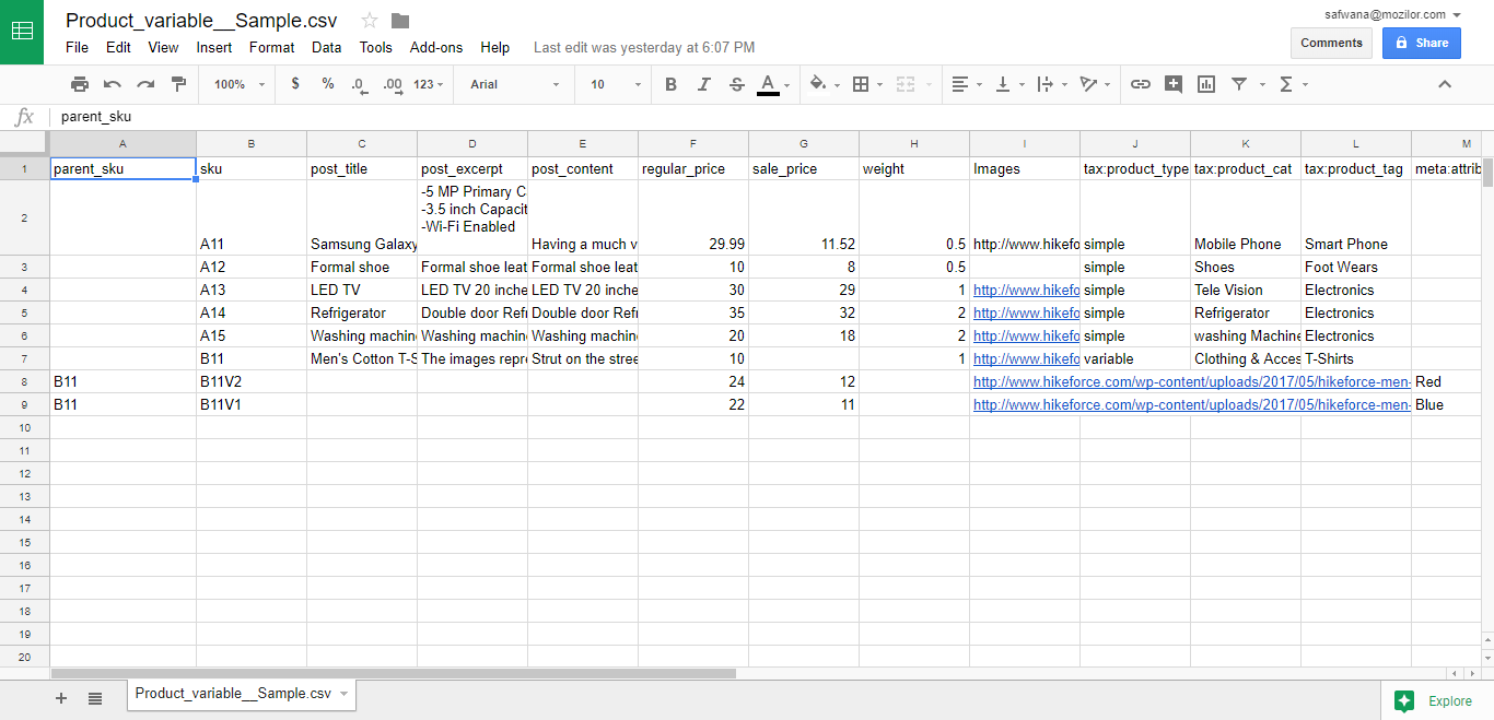 CSV file exported to Google Spreadsheet