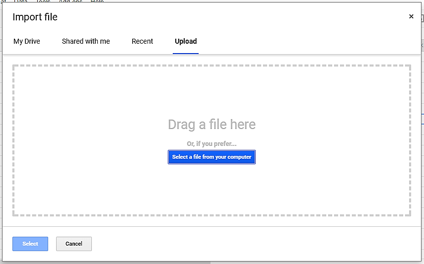 Upload file dialog box