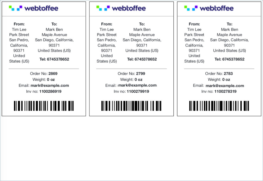 Sample WooCommerce Shipping Label