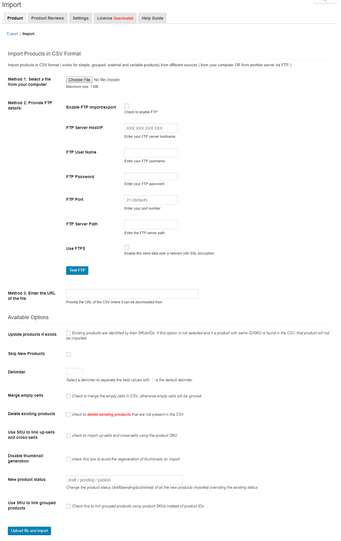 Import Page for Product Import Export Plugin for WooCommerce
