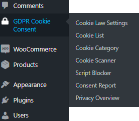 GDPR menu on WordPress dashboard