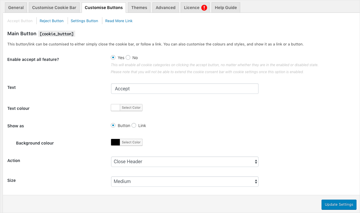 GDPR Cookie law settings-Customize Buttons