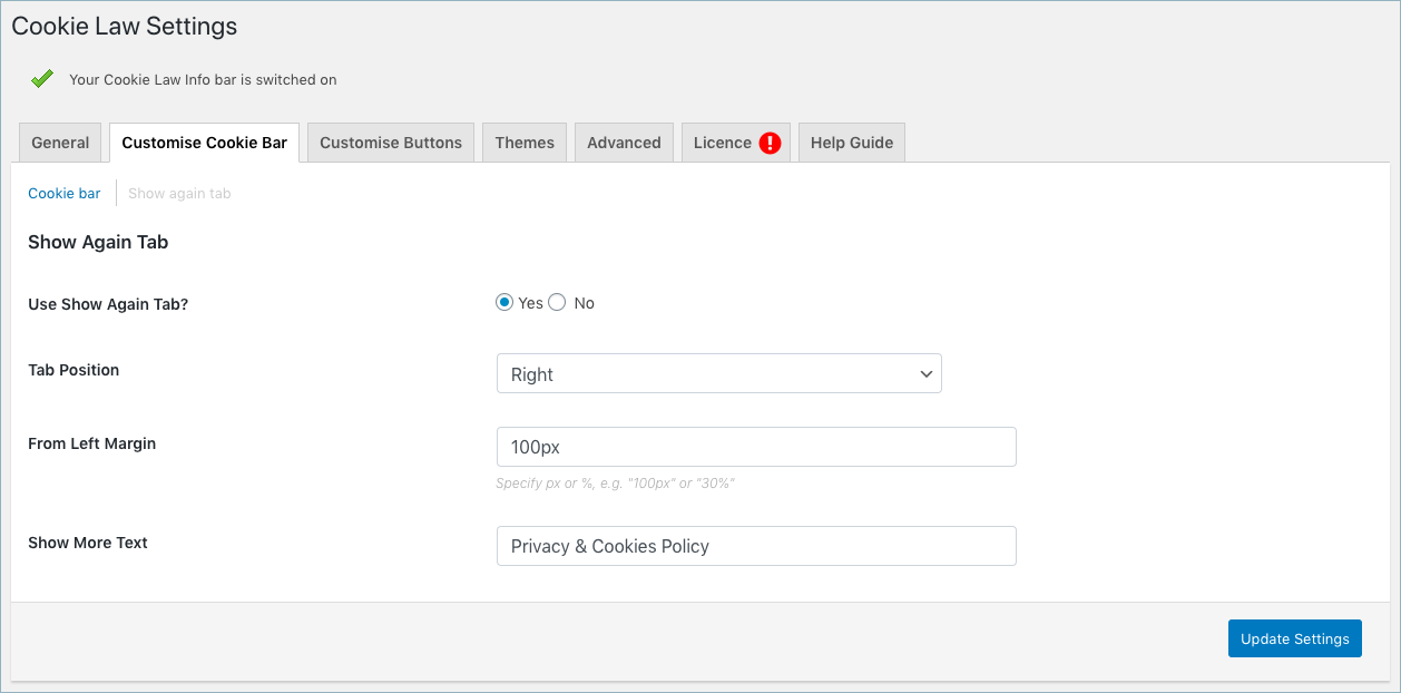GDPR&CCPA-Cookie Law Settings-Customise Cookie Bar-Show again tab