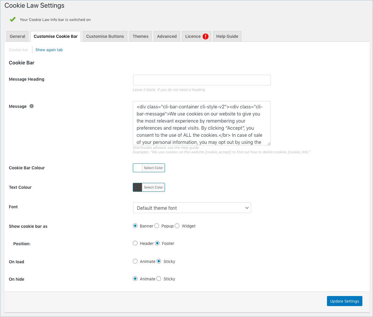 GDPR&CCPA-Cookie Law Settings-Customise Cookie Bar