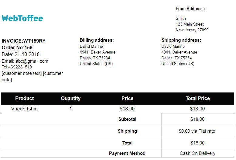 invoice order same
