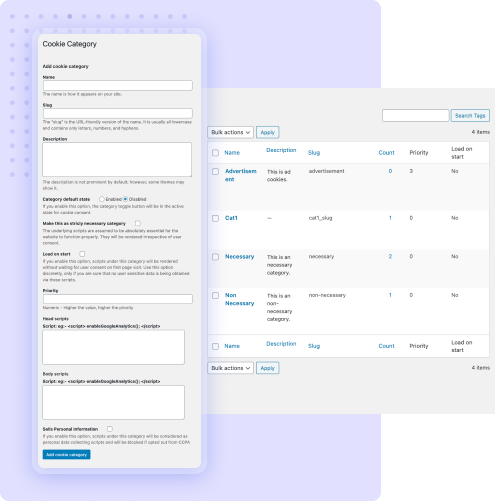 manage cookies and cookie categories