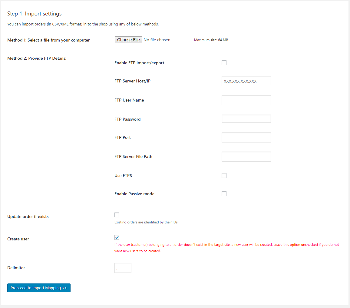 order import settings page