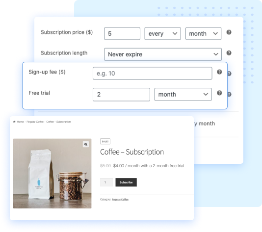 set up free trial and signup fee for WooCommerce subscriptions