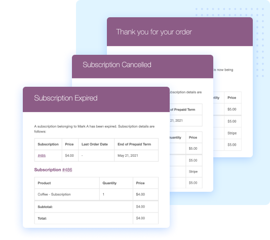 subscriptions for WooCommerce email notification