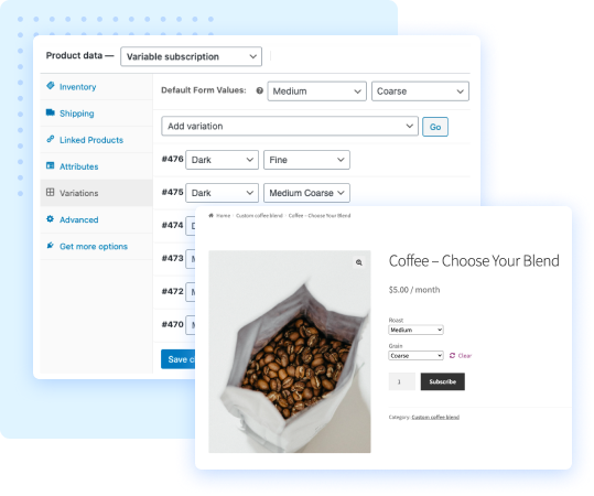 Create variable subscriptions using Subscriptions for WooCommerce