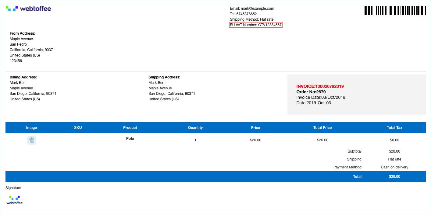 Invoice with order meta-VAT